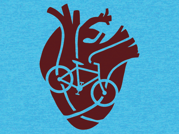 Bike-Powered Heart Screenprint by Kara Fuhlbrugge