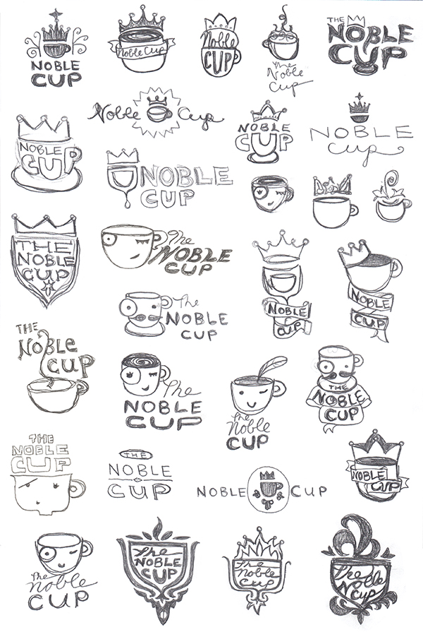 The Noble Cup logo sketches by Kara Fuhlbrugge