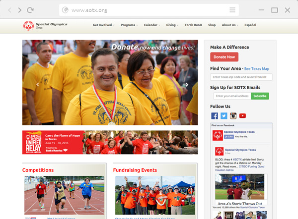 Special Olympics Texas Website by Kara Fuhlbrugge